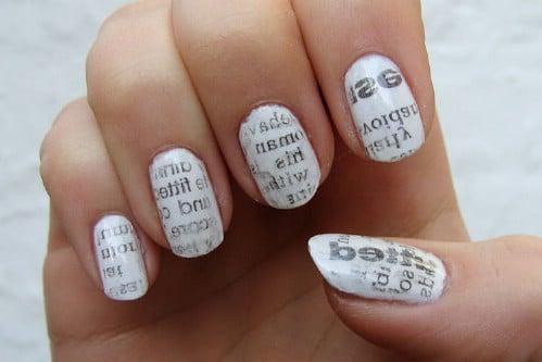 DIY Newspaper Print Nail